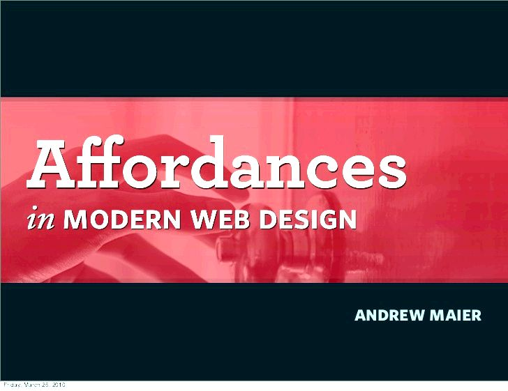 Affordances in modern website design does this factor
