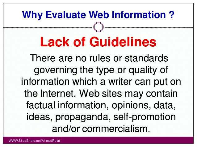 Evaluating internet information as from the credible