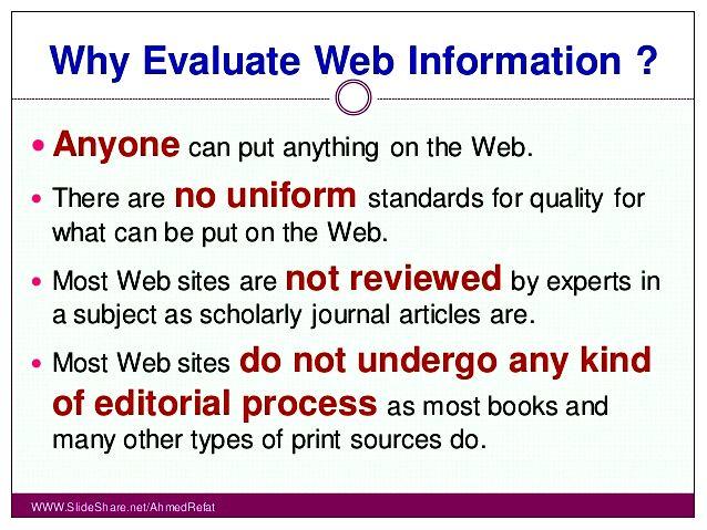 Evaluating internet information sites aren