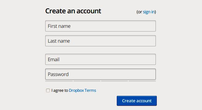 Dropbox signup form