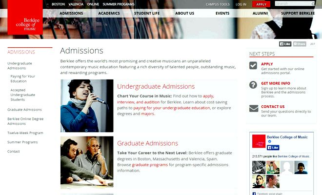 berklee college of music homepage
